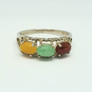 Avon Red Yellow Green Jade Sterling Silver Ring